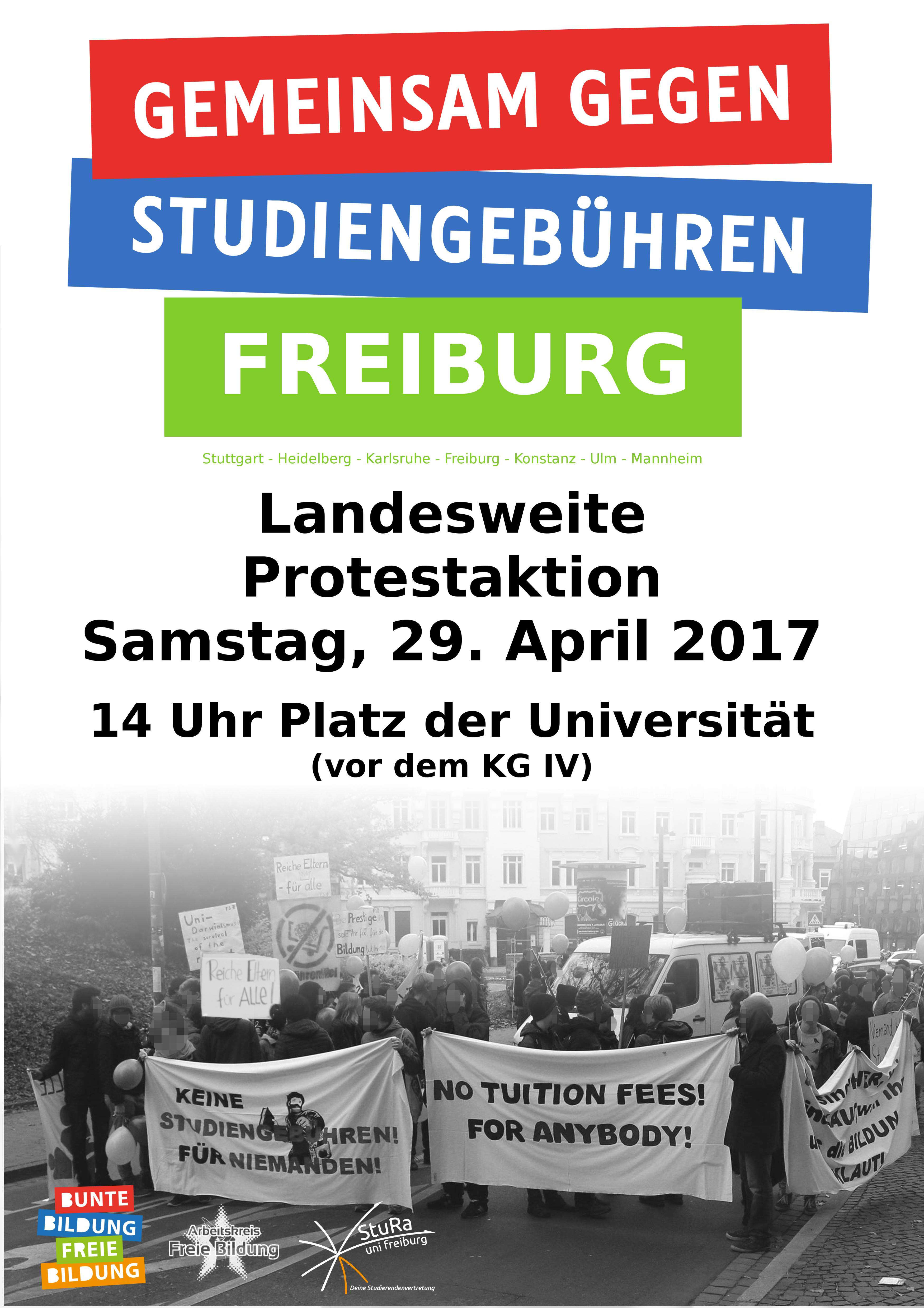 Aufruf: Gemeinsam gegen Studiengebühren! - Landesweite Proteste am 29. April!